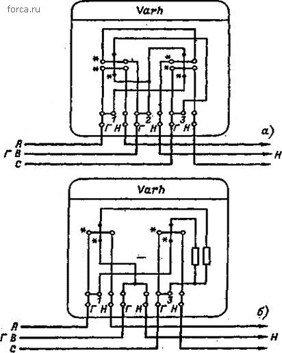 схемы счетчиков реактивной энергии